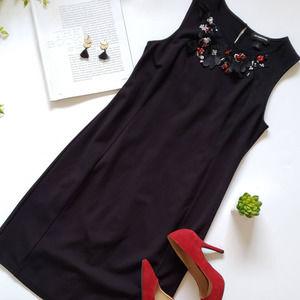 Liz Claiborne Embellished Black Sheath Dress Small
